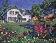 David Lloyd Glover - Anne of Green Gables House., Prince Edward Island - original acrylic on canvas painting Canvas Home, House Canvas, Canvas Art, Canvas Prints, Gable House, Anne Shirley, House Drawing, Prince Edward Island, Pastel