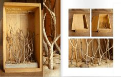 twig diorama: Maybe atttach green tissue paper to make leaves