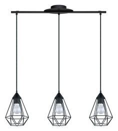 "Eglo 94189A Tarbes 31"" Wide 3 Light Cage Style Linear Pendant Matte Black Indoor Lighting Pendants"