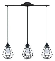 "Eglo 94189A Tarbes 31"" Wide 3 Light Cage Style Linear Pendant Matte Black Indoor Lighting Pendants"