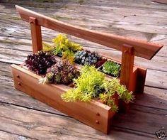 JAPANESE STYLE CEDAR HERB & PLANT CADDY & PLANTER BOXES