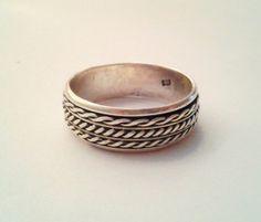Vintage Braided Sterling Spinne Ring.