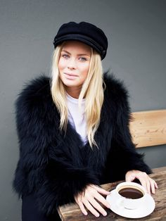 On Victoria Tornegren: shop similar black fur coats here.