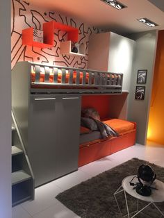 Colorful bunk beds with storage for kids room