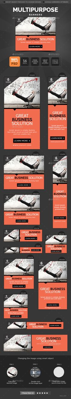 Buy Multipurpose Banners by Hyov on GraphicRiver. Promote your Products and services related to any niche with this great looking Banner Set. Banner Design, Layout Design, Website Promotion, Web Banners, Banner Template, Print Templates, Invitation Design, Flyers, Invites