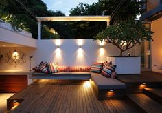 Awesome Backyard Landscaping Decorating Ideas With Classic Nuance Lighting And Comfy Grey Outdoor Sectional Sofa Placed On Stripes Wooden Flooring, Top Quality Outdoor Sectional Sofa Ideas: Exterior, Furniture