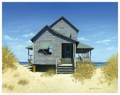 Paper: 11 1/2 x 14 1/2Image: 11 x 14 Mini Art Print poster by renowned artist Daniel Pollera. Charming ocean front house on the dunes. The perfect summer retrea