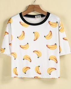 T-Shirt mit Bananen Druck, weiß 10.91