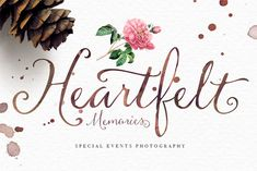 The typeface offers a feminine handwriting style with a calligraphic touch.