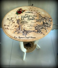 Painted Table with Transfer Top