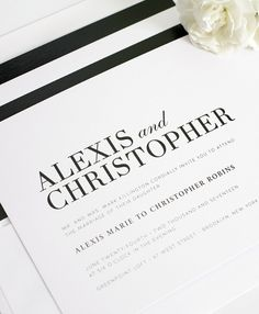 Modern Black and White Wedding Invitations and Envelope Liner with Horizontal Stripes - modern wedding invitations, black wedding invitations, striped wedding invitations, typography wedding invitations