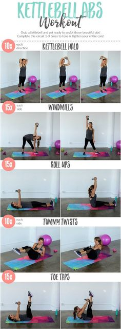 Tighten an tone your entire core with this kettlebell ab workout.