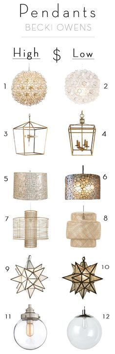 High and Low Pendants Similar Pendant Lighting with High and Low: 1: Splurge: Neiman Marcus Capiz-Shell 1-Light Pendant Price: $690.00. 2: Save: West Elm Capiz Flower Pendant $199 – $299. 3: Splurge: Regina-Andrew Design Camden 5-Light Lantern $423.75. 4: Save: Wisteria Admiral Pendant Lantern $302.97. 5: Splurge: Kathy Kuo Home Cobblestone Coastal Beach Capiz Shell 14.5 Inch Round Pendant $788. 6: Save: Pottery Barn Marina Drum Pendant $399. 7: Splurge: One Kings Lane Deco 1-Light Pendant…
