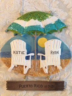 Personalized Beach Chairs with Umbrella Ornament by YourNAMEnts