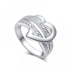 8773638b2a SHUANGR 1 X Newest Fashion Women Jewelry Silver-Color Bling Heart Love Women  Wedding Ring Size 7 8 9 Valentine's Day Gift - TakoFashion - Women's  Clothing ...