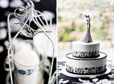 black & white wedding cake - photo Della White Photography