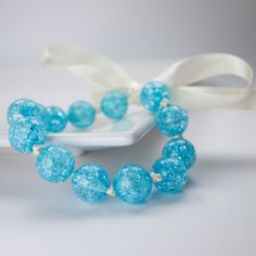 Sky Blue Beaded Bracelet, Jewelry Ribbon Crackle Bead Bracelet, Champagne Ivory Cream Satin Ribbon, Adjustable Cute Summer Bracelet Bow - pinned by pin4etsy.com