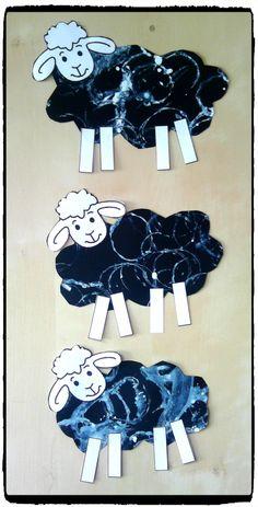 bricolage mouton, animaux de la ferme, peinture, empreinte de rouleaux de papier toilette, bricolage enfant