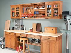 Workshop storage plans, including shop cabinets and shelves, tool chests and stands, benchtop organizers, and more. Garage Workshop Plans, Workshop Bench, Workshop Storage, Garage Plans, Storage Center, Wall Storage, Storage Organization, Garage Storage, Organizing