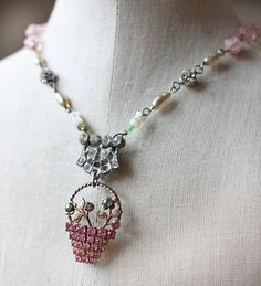 Easter Basket - vintage assemblage necklace pink rhinestone basket flowers pastel crowned by grace