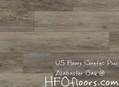 "US Floors COREtec Plus, Alabaster Oak 7"" luxury vinyl plank flooring. Available at HFOfloors.com."