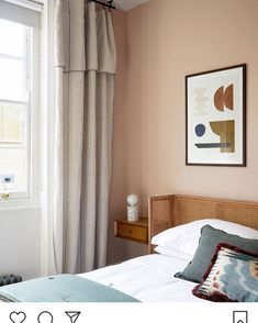 Our timeless creates a wonderful backdrop in this soothing space. Light Pink Bedrooms, Pink Bedroom Walls, Scandi Bedroom, Home Bedroom, Bedroom Decor, Garage Bedroom, Olive Bedroom, Peach Bedroom, Spare Room Colour Ideas