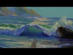 Cómo pintar un paisaje marítimo. Pintar el mar al oleo paso a paso. Como pintar ondas. Sajarov - YouTube