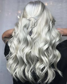 platinum silver hair color with moon hair accessory. Try this hair color here https://www.hairchalk.co/shop/snow-white-hair-dye-6/