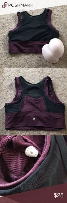 Double Tap sports bra 8 Lululemon double tap high neck mesh sports bra in size 8. Worn handful of times. Unused cups included. No trades. lululemon athletica Tops Crop Tops