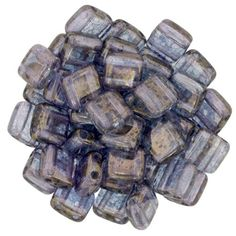 Czechmate 6mm Square Glass Czech Two Hole Tile Bead, Crystal - Moon Dust