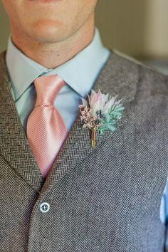 Blushing bride protea boutonniere by Compass Floral   Estancia Hotel & Spa, La Jolla.