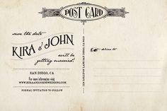 Vintage+Save+the+Date+Postcard++the+Kira+by+NostalgicImprints,+$38.00