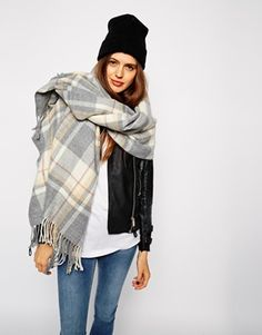 ASOS Oversized Scarf In Grey Check With Tassels