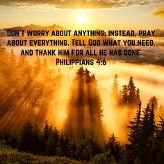 Philippians Don't worry about anything; instead, pray about everything. Tell God what you need, and thank him for all he has done. Encouragement Quotes, Faith Quotes, Bible Quotes, Jesus Our Savior, God Jesus, Prayer Verses, Faith Prayer, Spiritual Wisdom, Atheism