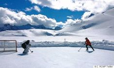 """Two Canadians, one a British Columbia Mountie, playing hockey on a mountain-top ice rink. It truly is the """"most Canadian photo ever"""". Canada Day Pictures, Canadian Symbols, Nostalgia, Canadian Things, Canada Eh, We Are The World, Heart For Kids, New Travel, Canada Travel"""
