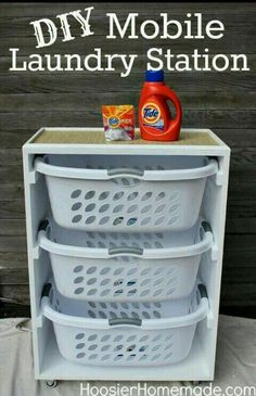 DIY Mobile Laundry Station ~ I could see several of these in a laundry room. One for dirty laundry and one for clean. Organization Station, Closet Organization, Organization Ideas, Storage Ideas, Diy Storage, Organizing Toys, Storage Bins, Roommate Organization, Clothing Organization