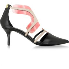 Pierre Hardy Shoes Black and Blush Leather and PVC Shades Pump ($340) ❤ liked on Polyvore featuring shoes, pumps, pointed toe pumps, black pumps, black leather pumps, black pointy-toe pumps and high heeled footwear