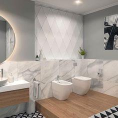 DIAMONDS by Kalithea #panels #panele #3Dpanels #panele3D #bathroom #łazienka #wall #ściana #tiles #płytki #design #interior #wnętrze #inspiration #inspiracje #modern #nowoczesny #mieszkanie #home #dom #decor #dekoracja #hexagon #marble #marmur Bathroom Wall, Modern Bathroom, 3d Panels, Bathrooms, Tiles, Bathtub, Interiors, Interior Design, House