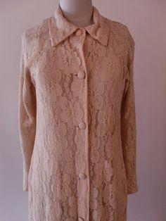 Vintage 40's Beige Lace Robe. Maxi Button by sailorpinkvintage, $48.00