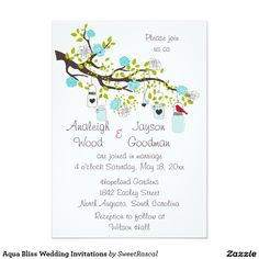 "Aqua Bliss Wedding Invitations 5"" X 7"" Invitation Card"
