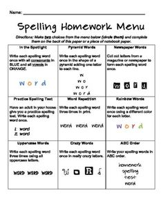 Morphemic approach to spelling activities for homework