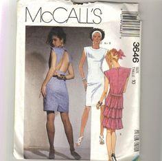 Misses Sexy Open Back Mini Dress Pattern Size 10 Bust 32 McCalls 3646