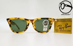 VINTAGE SUNGLASSES RAY BAN B&L WAYFARER LIMITED YELLOW TORTOISE W0893 G-15 80s - ORIGINAL AND UNWORN GLASSES – ratticollector Ray Bans, Ray Ban Frames, Don Johnson, Miami Vice, Man Ray, Wayfarer Sunglasses, Fashion History, Tortoise, Green And Grey
