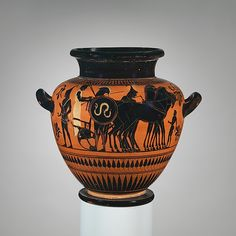 Attributed to the Painter of London B 343 | Terracotta stamnos (jar) | Greek, Attic | Archaic | The Met