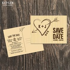 Rustic Save the Date Heart monogram Save the by katleminvitations