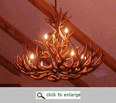 Cabin Lighting - Mule Deer Antler Chandelier - 14 Light - Western Decor