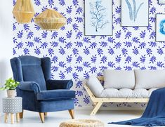 #peelandstick #wallpaper #adhesivedecor #adhesiveproducts #temporaryhomeupgrades #temporaryupgrades #rentershacks #rentersideas #homedecorideas #diyprojects #removablewallpaper White Leaf, Blue And White, Leaves Wallpaper, Home Safes, Home Upgrades, Pattern Wallpaper, Love Seat, Diy Projects, Fancy