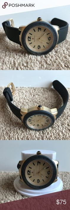 Bernoulli Watch Gold Tone Face Rubber Band Quartz Bernoulli Watch Gold Tone Face Rubber Band 9680 Quartz Women Wrist Watch Japan M  Brand: Bernoulli  Display Type: Analog Clasp Type: IP Gold Buckle Case Material: Metal Case Dimensions: 45 mm x 52 mm x 14 mm Band Material: Silicone Band Dimensions: 200 mm x 22 mm Band Color: Black Dial Color: Gold Hands Details: Luminescent Bezel Color: Black Movement Type: Quartz Water Resistant Depth: 3 ATM Watch Strap Adjustable: Yes Additional Special…