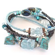 Nixie: Aquamarine Wrap Bracelet.  Full of unique beads and gemstones, this stunning  bracelet can also be worn as a chic necklace.