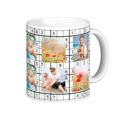 Sudoku Pattern Photo Collage Coffee Mug more beautiful customized photo mugs with your image at www.mouseandmarker.com